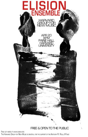 Poster for ELISION concert featuring two anthropomorphic blobs of black paint embracing